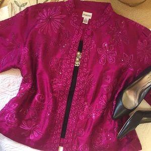 Chico's Fuchsia Silk Embellished Jacket